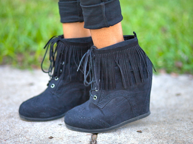 DIY Faux Fringe Booties