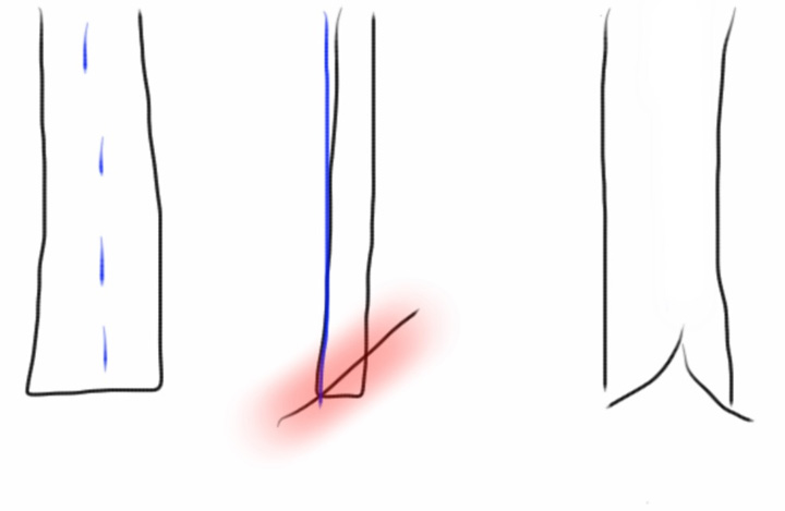 next tutorial.  Fold your tail in half (along blue dotted lines), cut along the angled line (in the red area) on both ends, and voila!  Fancy tail.