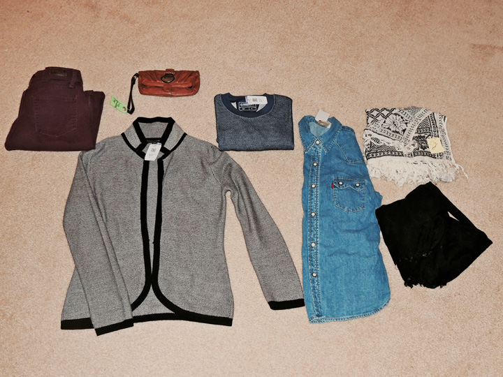 Lee Jeans $8 // Expandable wristlet $3 // Banana Republic sweater $9 // long-sleeved Magellan Outdoors top $5 // Lee pearl snap denim $9 // Oversized scarves $3 each