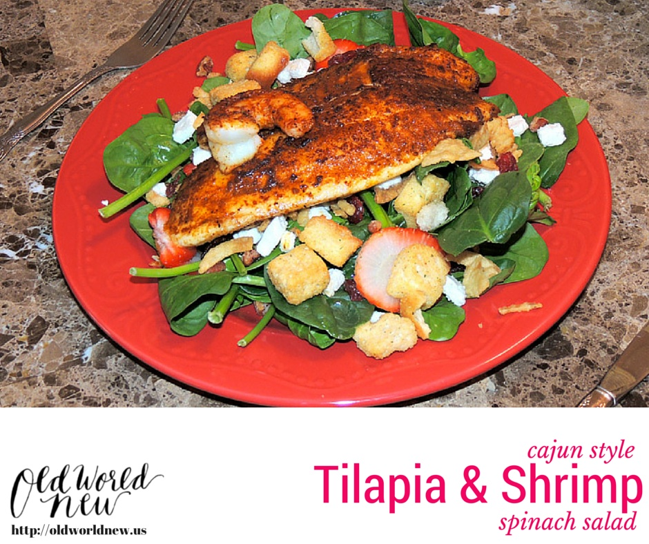 tilapia and shrimp spinach salad