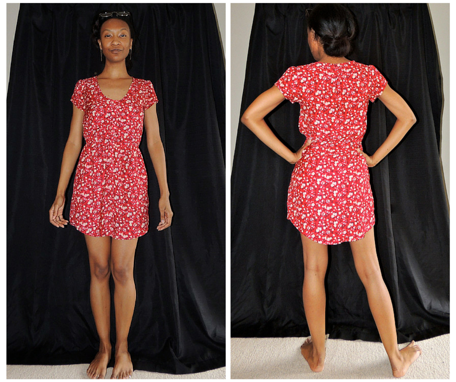 Red Floral w Pockets