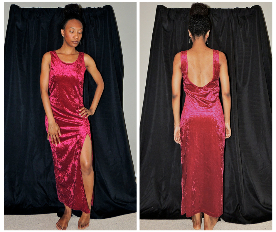 Red Velvet Dress with Slit and Low Back