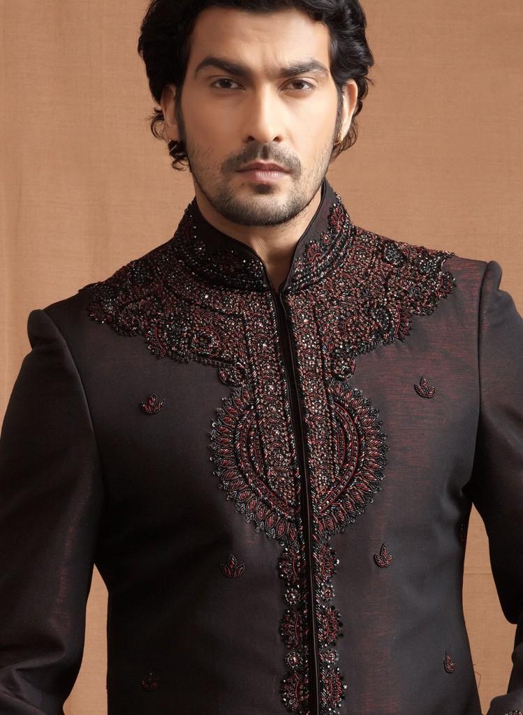 Black & Maroon Sherwani