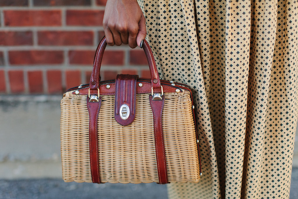 Vintage Ralph Lauren Skirt and Vintage Wicker Purse via Old World New