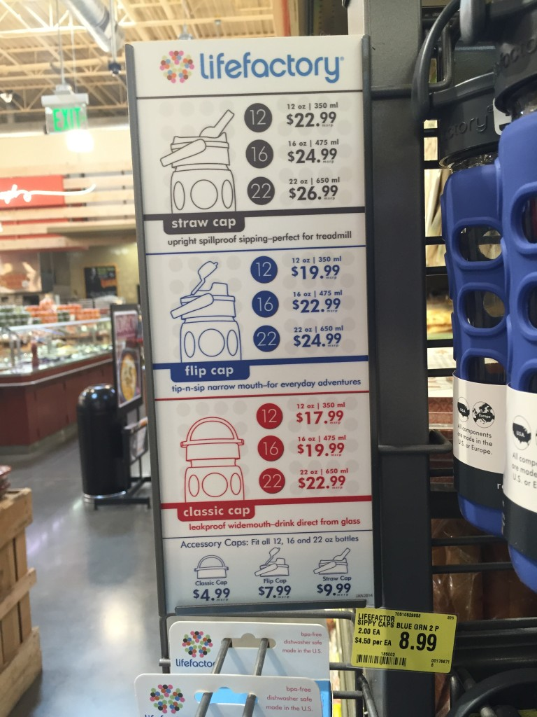 Life Factory Glass bottles price chart at Whole Foods Market via Old World New