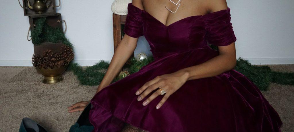 thrifted Christmas dress - wine velvet dress