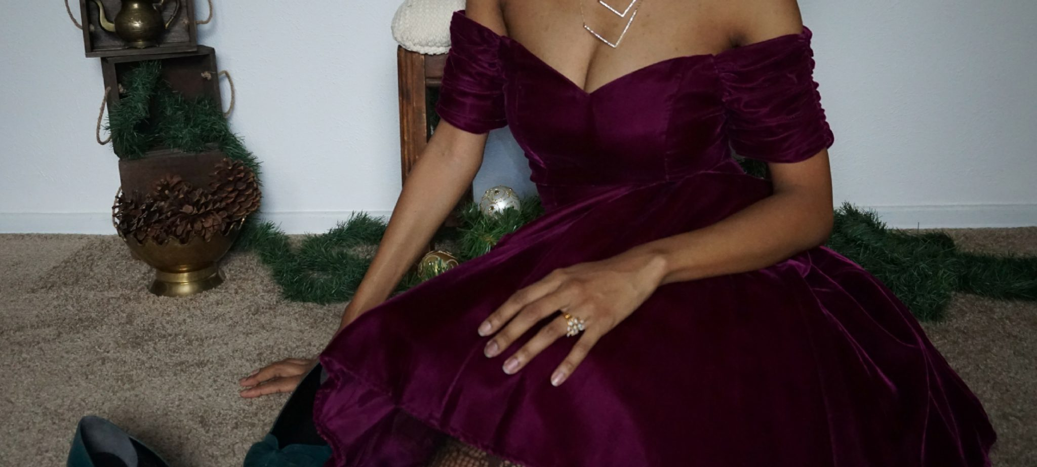 thrifted Christmas dress - wine velvet dress