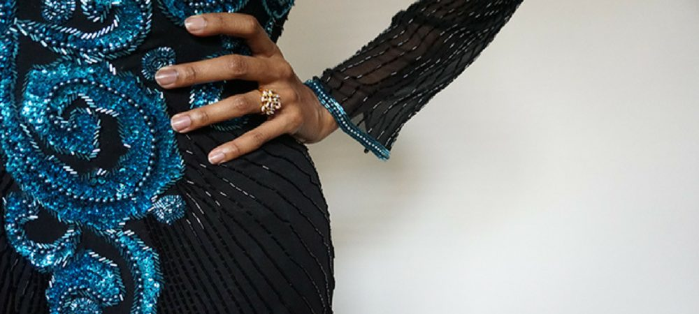 Black and Blue Asymmetrical Sequin Dress