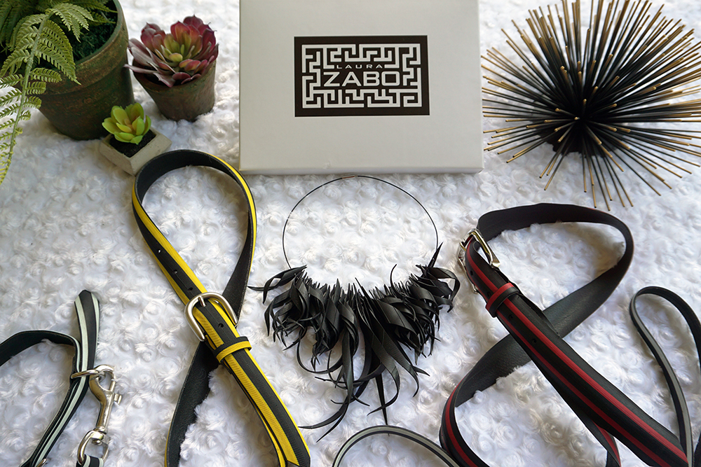 Laura Zabo upcycled tire accesories featured by Addie of Old World New - sustainable living tips