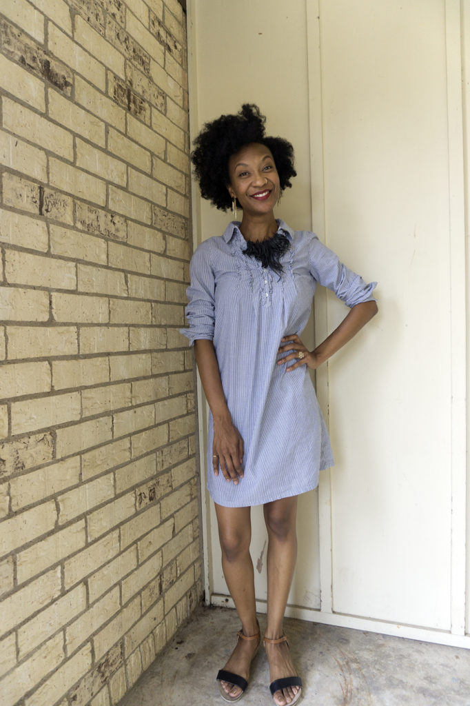 addie old world new thrifted GAP dress laura zebu recycled upcycled tire necklace minimalism hoarding