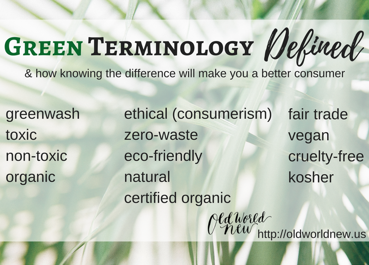 sustainable, organic, eco-friendly, and green terminology