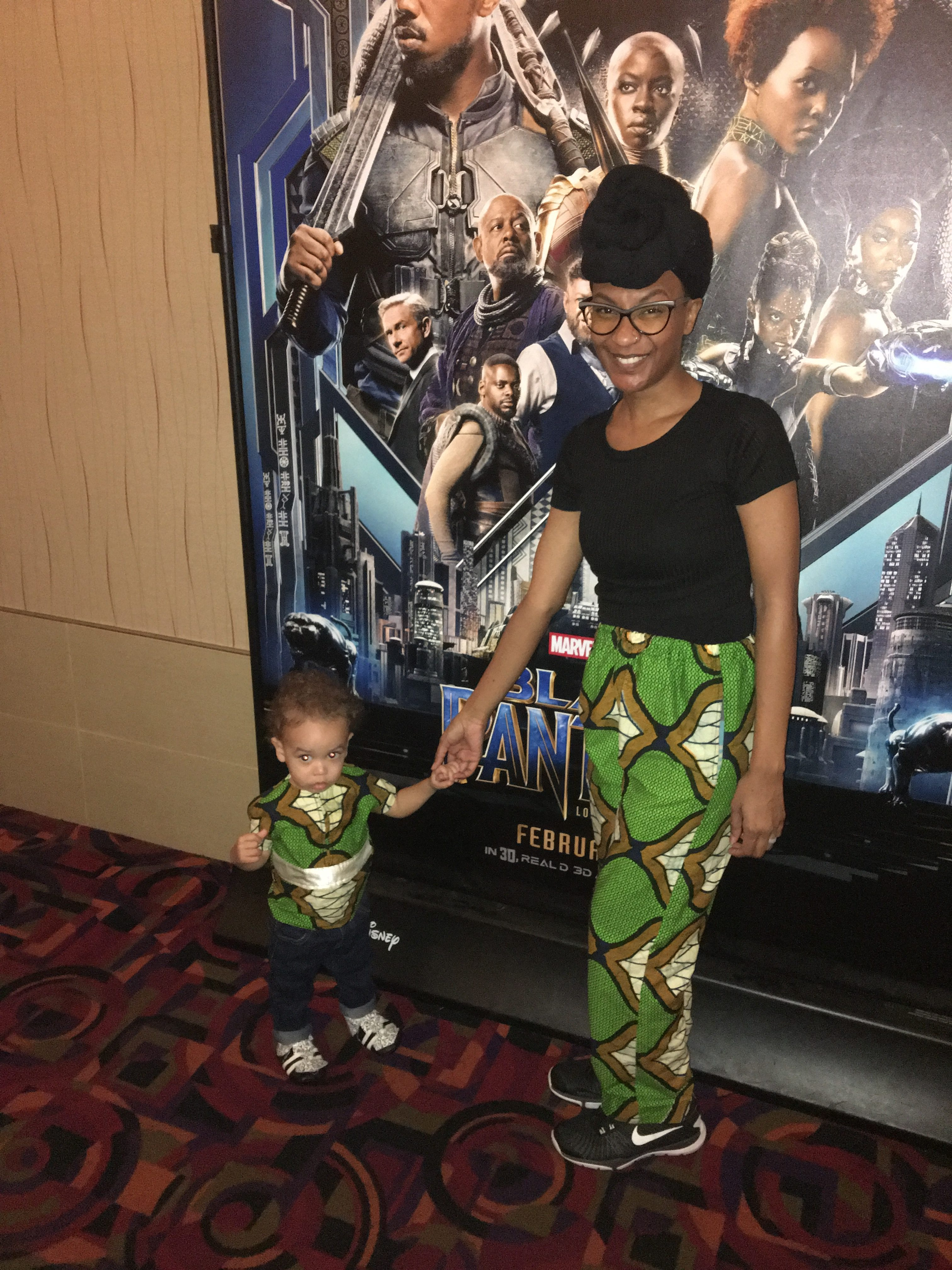 Black Panther Cosplay, Thrift Store, Family, Child, Nakia, River Tribe - via Old World New