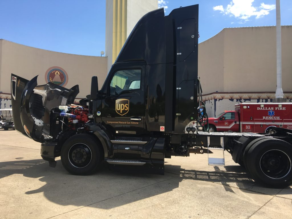 ups green eco-friendly truck earthX dallas, tx - via old world new