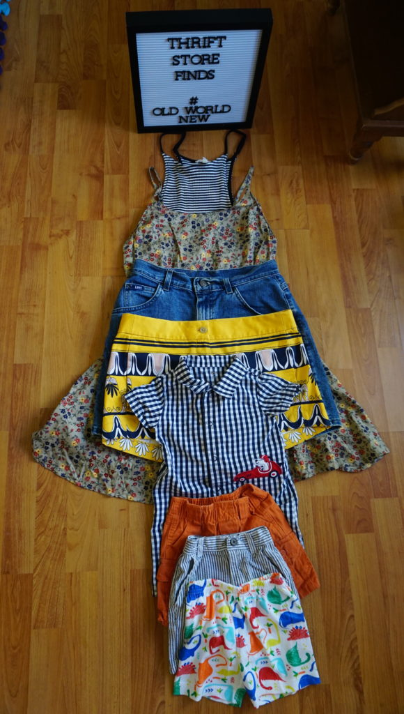 A $20 thrift store haul. I found a brand new American Eagle dress and some like new J.Crew shorts! - via Old World New