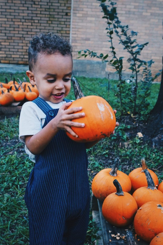 Eco-Friendly Children's Clothing - kids overalls - tiny green earthling - pumpkin picking