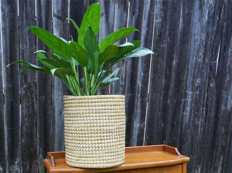 handwoven kaisa grass basket - ten thousand villages fair trade