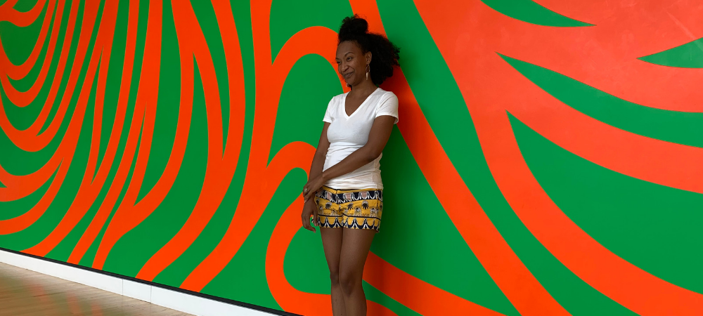 summer at crystal bridges - wall drawing #880 Loopy Doopy (orange and green) by Sol LeWitt