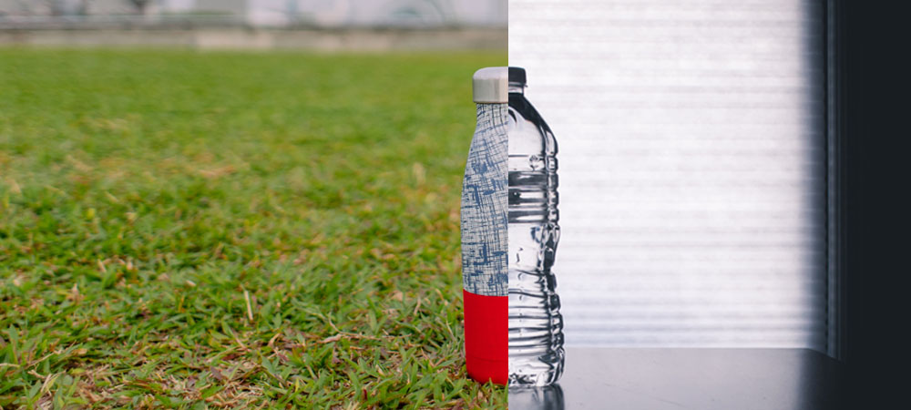 reusable and plastic bottle