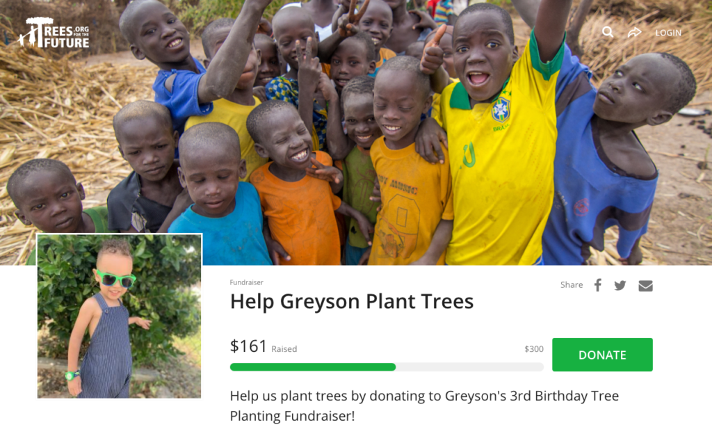 fundraiser to plant trees through a safe organization
