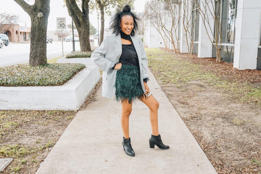 clothing swap mini skirt and vintage blazer