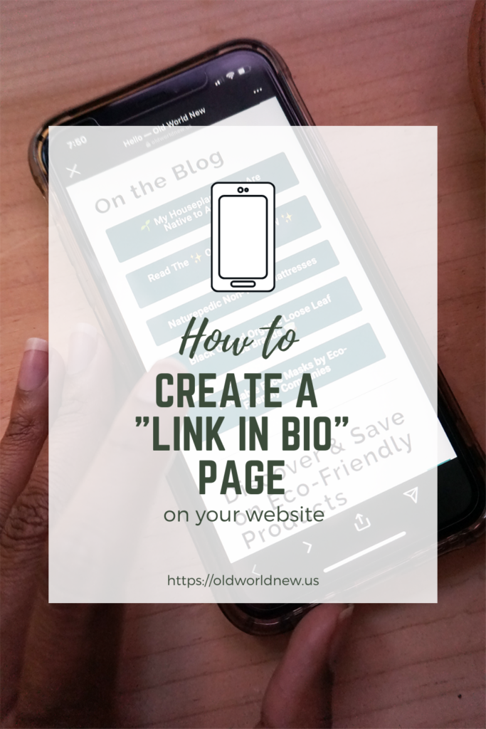 create a link in bio page on your own website