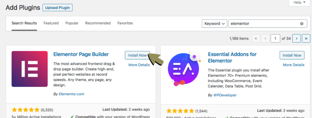link in bio page - (2) install & activate Elementor plugin