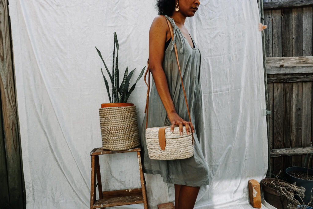 woven purse and woven plant basket - ten thousand villages - fair trade accessories