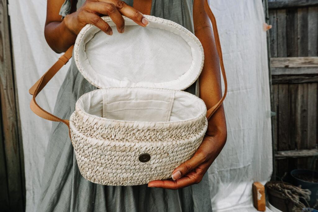 woven structured crossbody bag interior